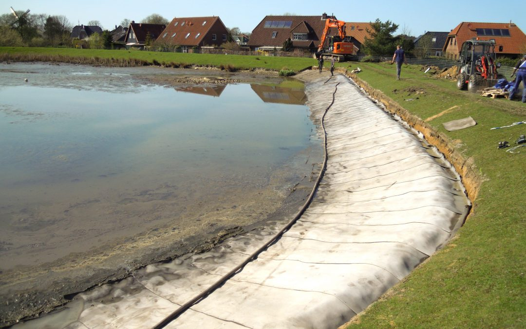 Sanierung der Uferzone eines Regenrückhaltebeckens, Wilster